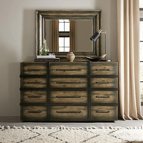 Hooker Furniture American Life-Crafted Twelve-Drawer Dresser and Mirror Set