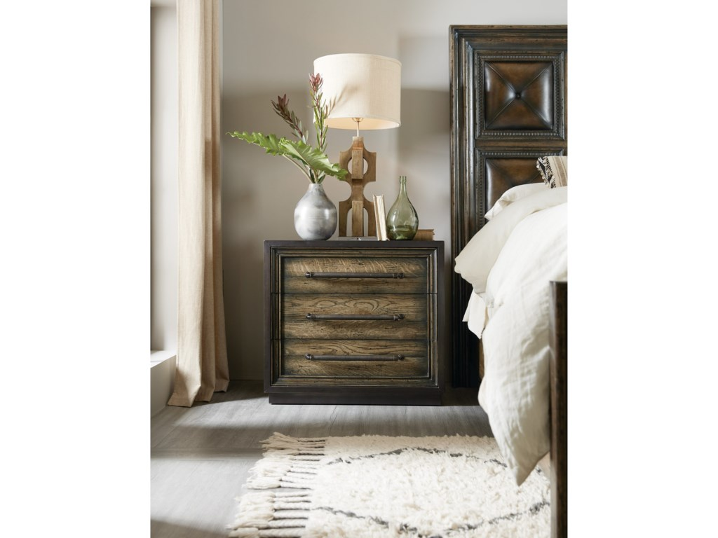 Hooker Furniture American Life-CraftedMetal Wrapped Three-Drawer Nightstand