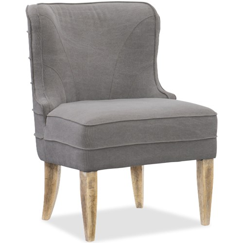Hooker Furniture American Life-Urban Elevation Upholstered Curved Back Dining Chair with Exposed Wood Legs