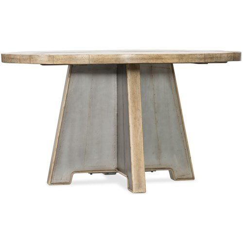 Hooker Furniture American Life-Urban Elevation 54in Metal Dining Trestle Table with Wood Top
