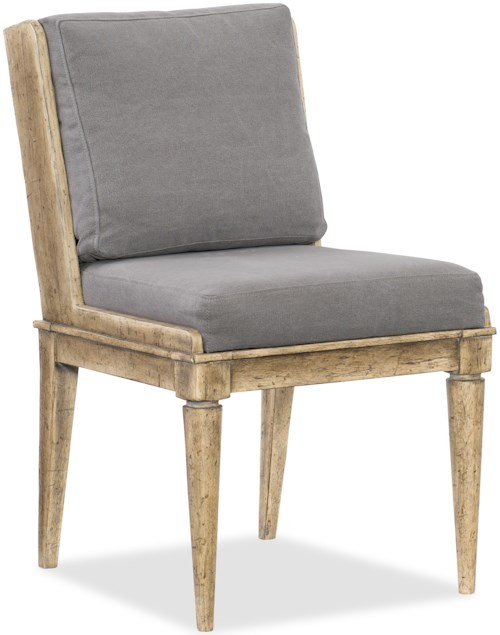 Hooker Furniture American Life-Urban Elevation Upholstered Side Chair with Exposed Wood Legs