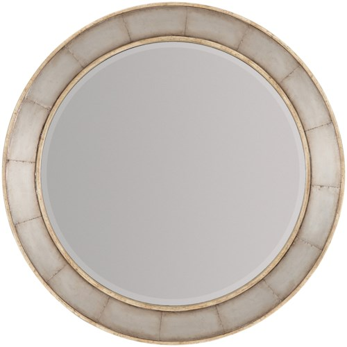 Hooker Furniture American Life-Urban Elevation Wood Frame Round Mirror with Metal Inlay