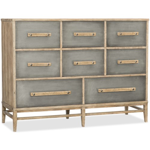 Hooker Furniture American Life-Urban Elevation Eight-Drawer Bureau with Aluminum Drawer Fronts