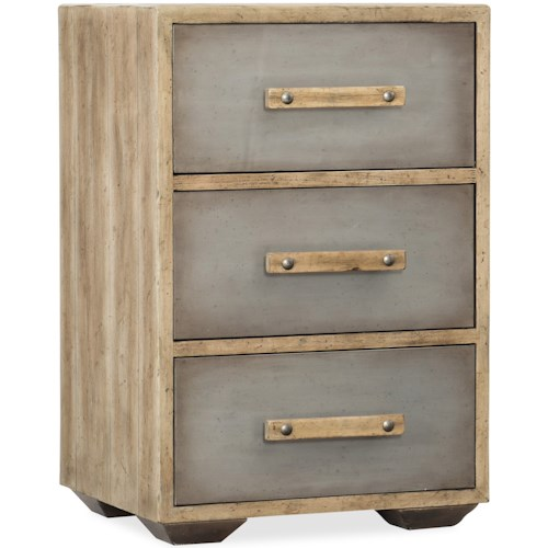 Hooker Furniture American Life-Urban Elevation Three-Drawer Nightstand with two tone finish