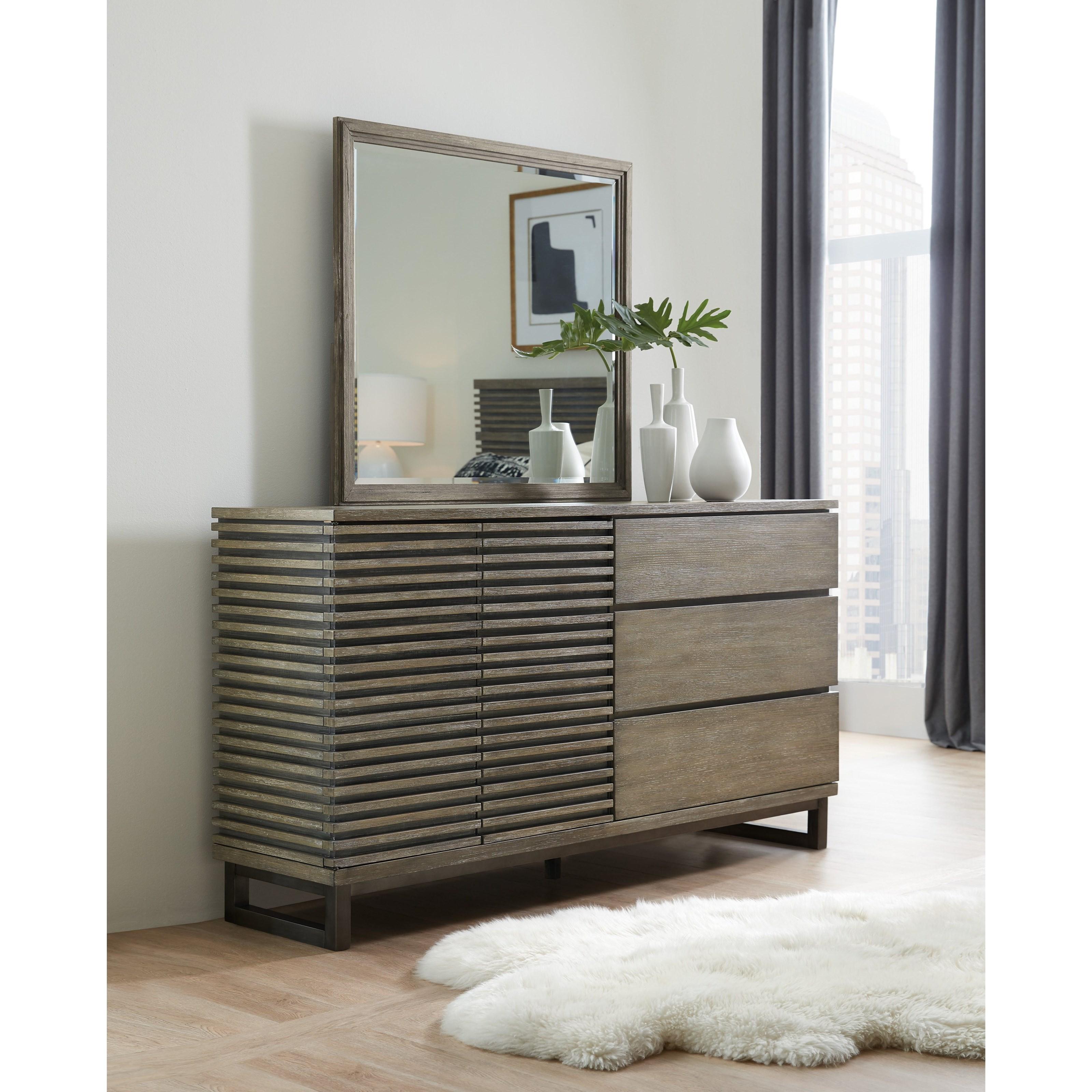Annex Contemporary Dresser And Mirror Set By Hooker Furniture