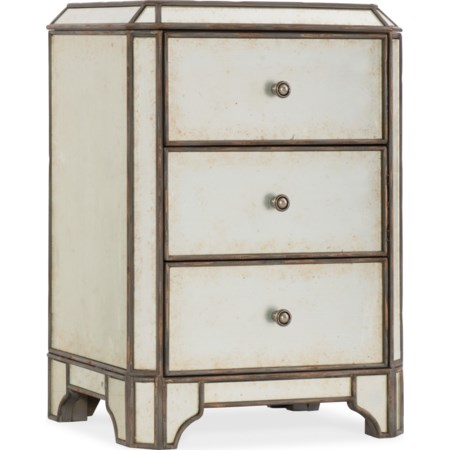 Mirrored Three-Drawer Nightstand