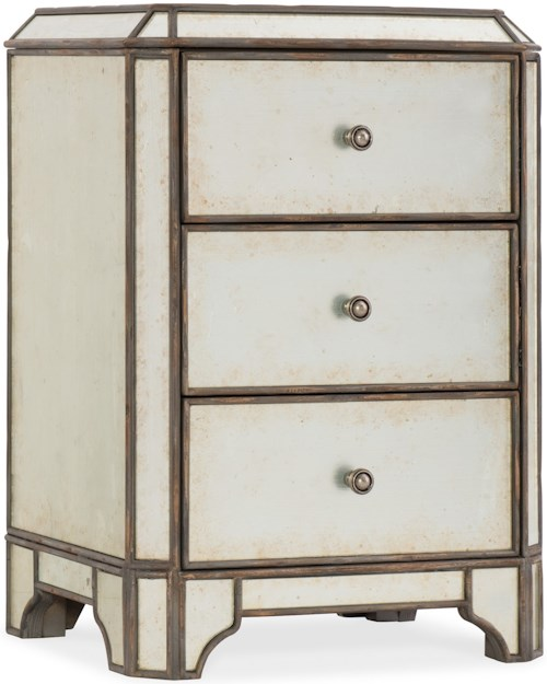 Hooker Furniture Arabella Mirrored Three-Drawer Nightstand with USB Port