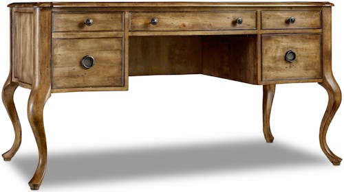 Hooker Furniture Archivist Writing Desk with Bonded Leather Top Insert