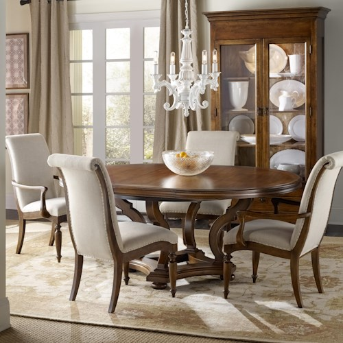 Hamilton Home Sentinel: Pecan 5 Piece Dining Set with Round Pedestal Table