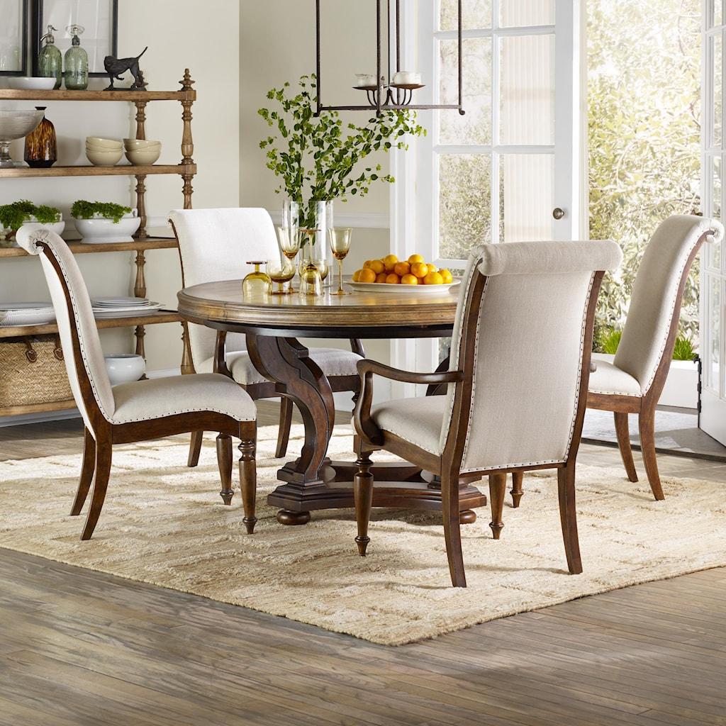 hooker furniture archivist 5 piece dining set with round pedestal