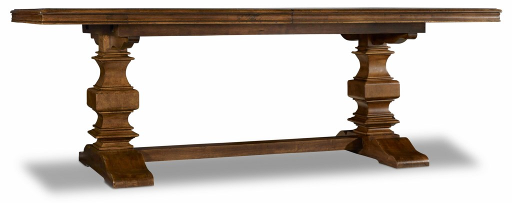 """hooker furniture archivist trestle table with 2 18"""" leaves"""