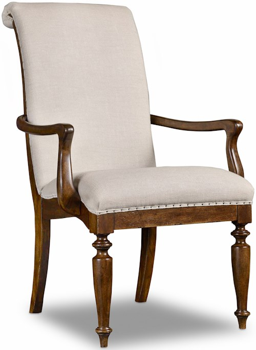 Hooker Furniture Archivist Upholstered Arm Chair with Turned Legs