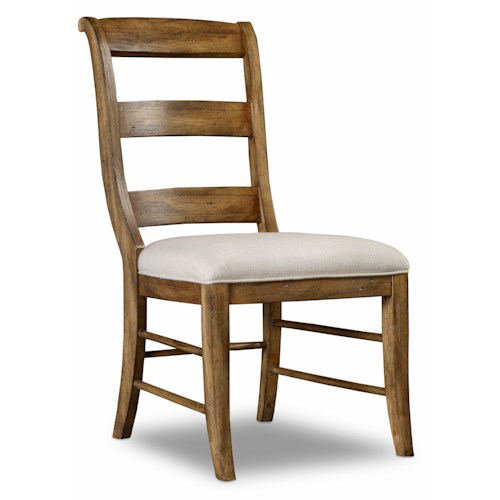 Hamilton Home Sentinel: Toffee Ladderback Side Chair with Scrolled Back