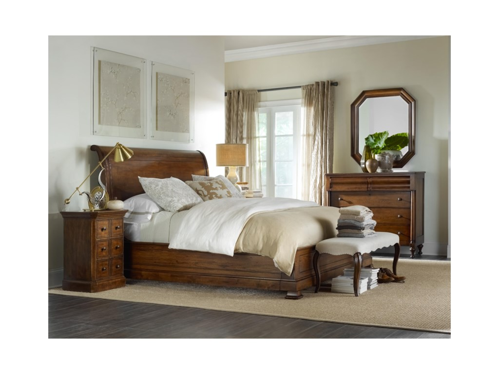 Hooker Furniture ArchivistCal King Sleigh Bed with Platform Footboard