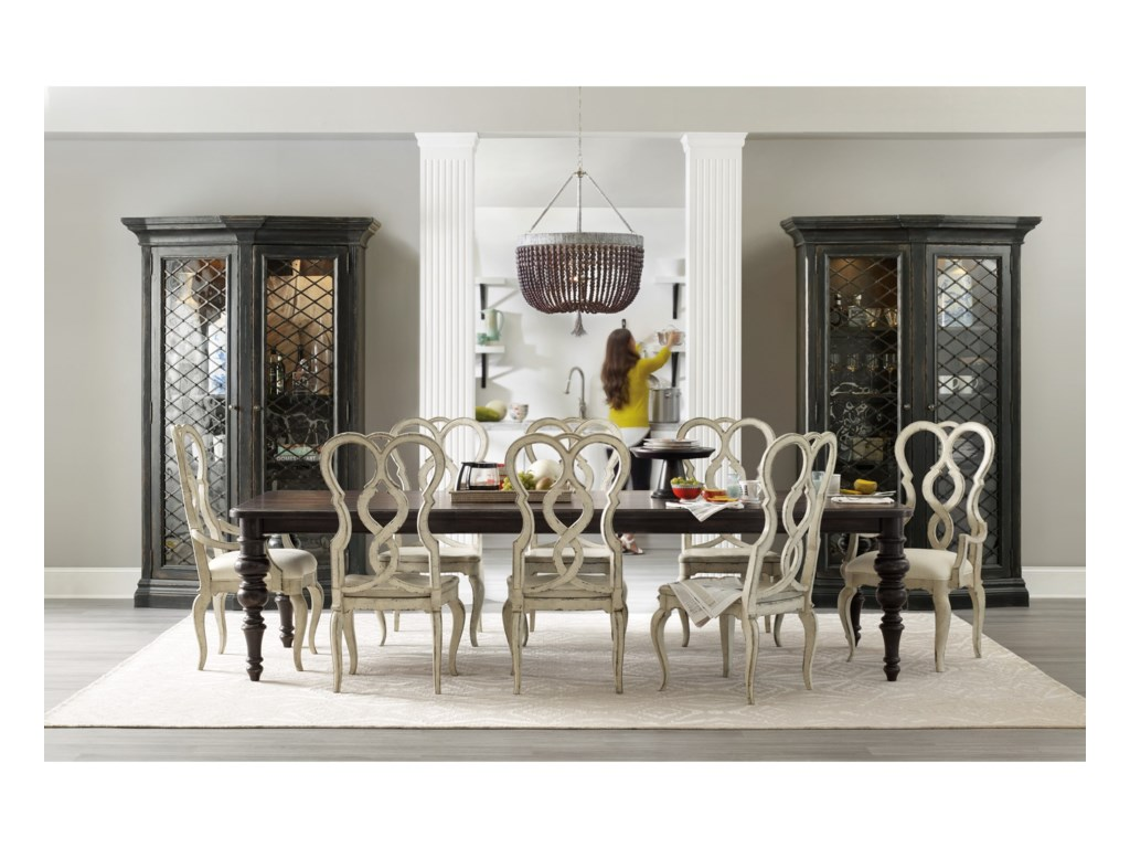 Hooker Furniture AuberoseRectangle Leg Dining Table with 2 Leaves