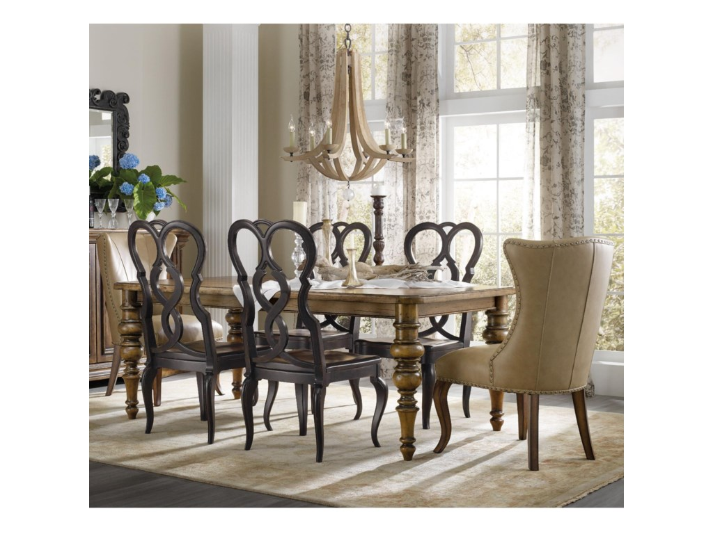 Hooker Furniture Auberose 7 Piece Dining Set With Leather Host Chairs