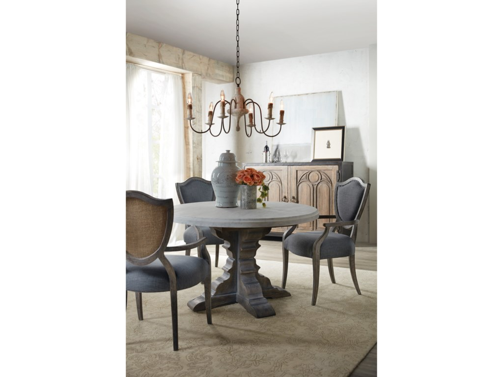 Hooker Furniture BeaumontRound Dining Table with 48in Marble Top