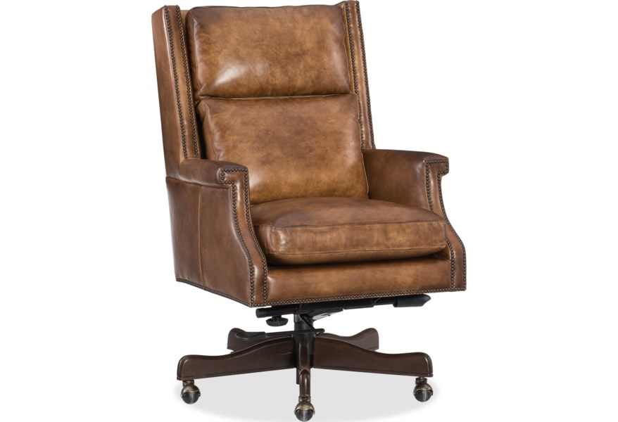 Hooker Furniture Beckett Ec562 083 Traditional Home Office Swivel Chair With Nailhead Trim Dunk Bright Furniture Executive Desk Chairs