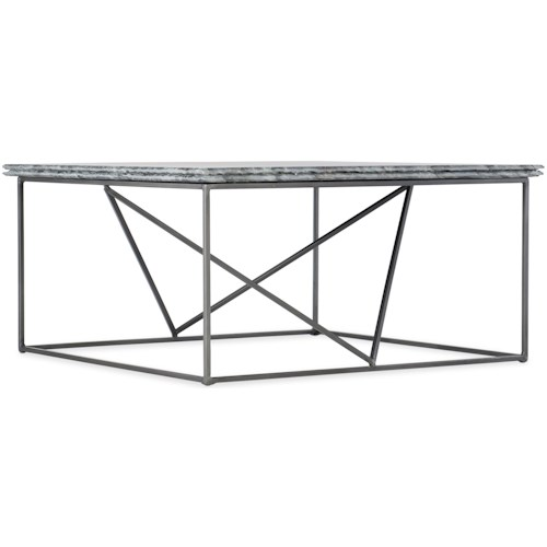 Hooker Furniture Besties Stone-Metal Cocktail Table with Bluish Gray Marble Top