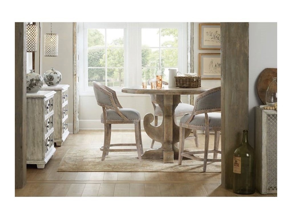 Hooker Furniture BohemeRound Table and Barrel Chair Set
