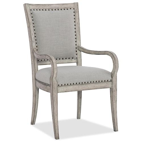 Hooker Furniture Boheme Vitton Upholstered Arm Chair with Nailhead Trim