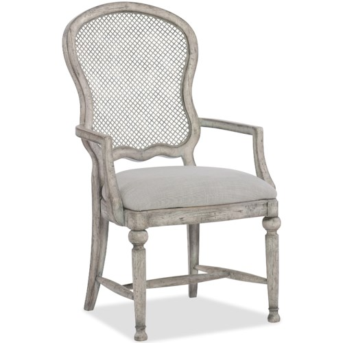 Hooker Furniture Boheme Gaston Traditional Metal Back Arm Chair with Upholstered Seat