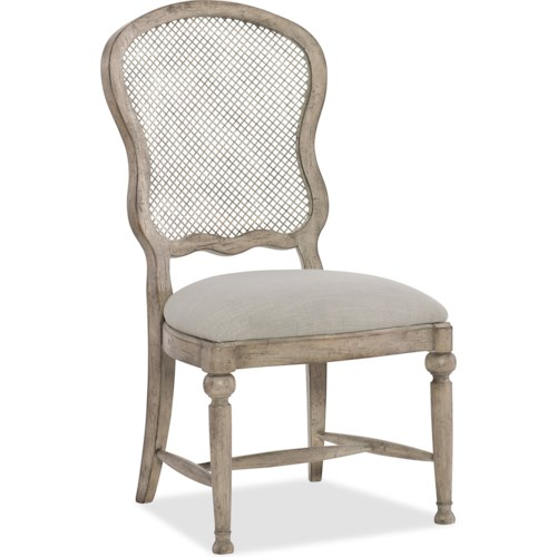 Hooker Furniture Boheme Gaston Traditional Metal Back Side Chair with Upholstered Seat