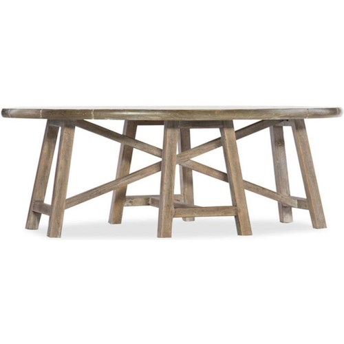 Hooker Furniture Boheme Oval Cocktail Trestle Table