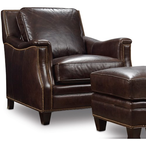 Hooker Furniture Bradshaw Traditional Stationary Leather Chair with Nailhead Trim
