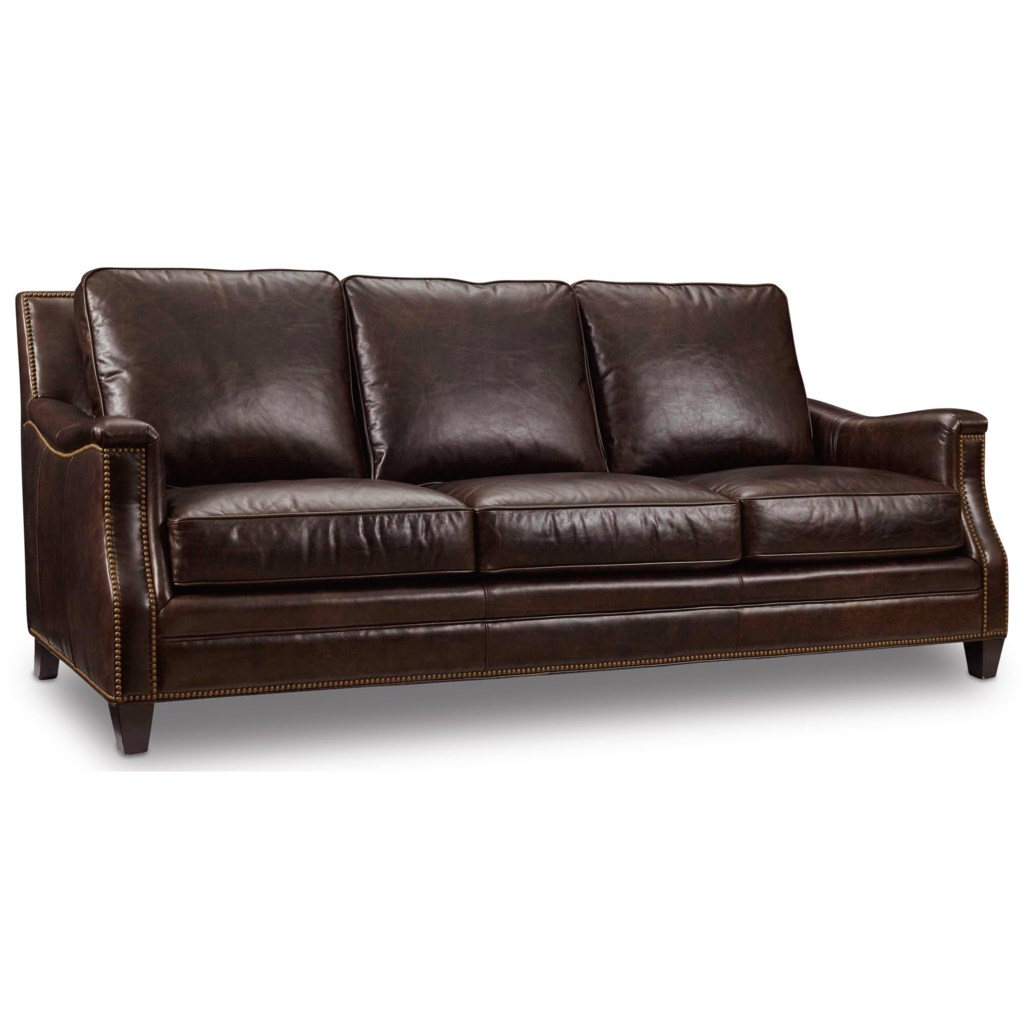 Hooker Furniture Bradshaw Traditional Stationary Leather Sofa With Nailhead  Trim