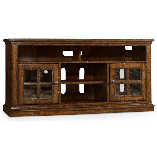 Hooker Furniture Brantley Entertainment Console with 2 Seeded Glass Doors