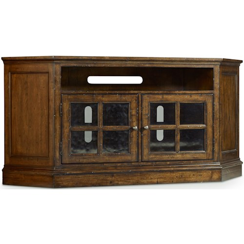 Hooker Furniture Brantley Corner Entertainment Console with 2 Glass Doors