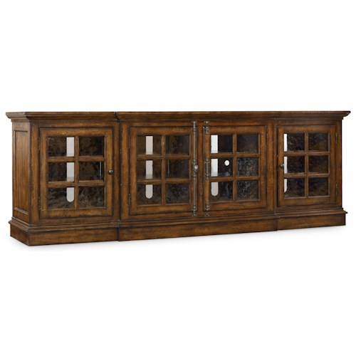 Hooker Furniture Brantley Entertainment Console with 4 Seeded Glass Doors