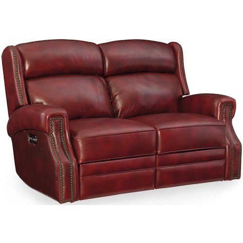 Hooker Furniture Carlisle Power Motion Loveseat with Power Headrest and Nailhead Trim