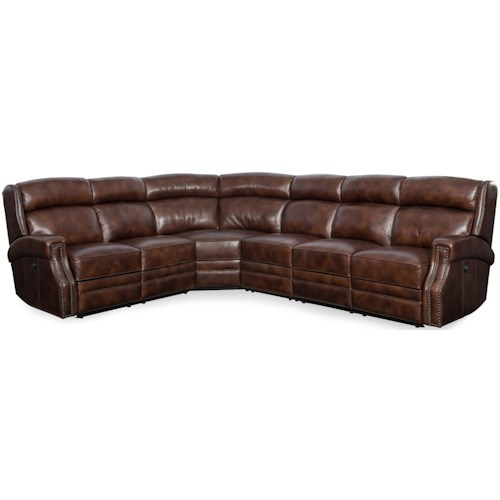 Hooker Furniture Carlisle Power Reclining Sectional with Nailhead Trim
