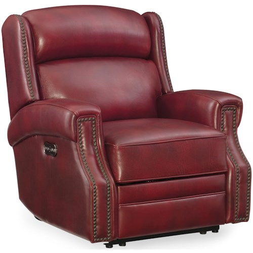 Hooker Furniture Carlisle Power Recliner with Power Headrest and Nailhead Trim