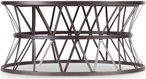 Hamilton Home Chadwick Round Cocktail Table with Metal X Pedestal Frame
