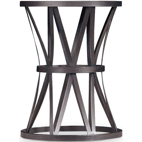 Hooker Furniture Chadwick Round End Table with Metal X Pedestal