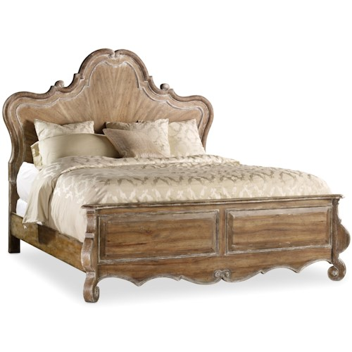 Hooker Furniture Chatelet King Wood Panel Bed with Scroll Detailing
