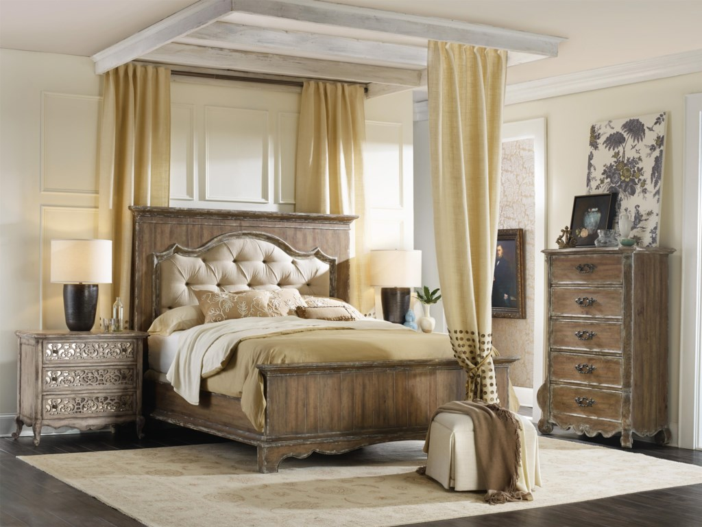 Hooker Furniture ChateletQueen Upholstered Mantle Panel Bed