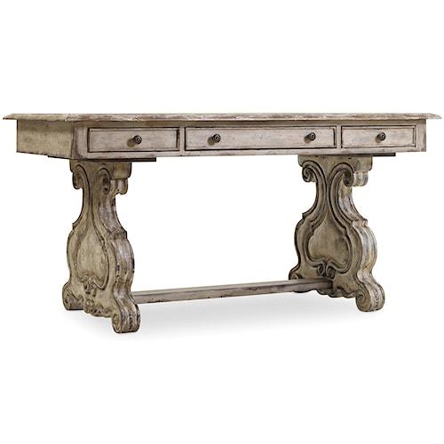 Hooker Furniture Chatelet Trestle Writing Desk with Scroll Pedestals