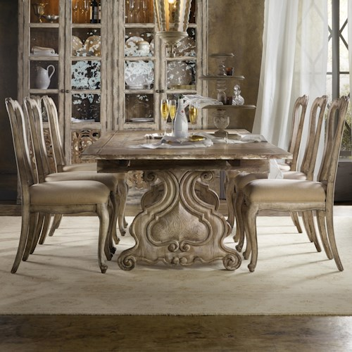 Hooker Furniture Chatelet 7 Piece Dining Set with Refectory Trestle Table
