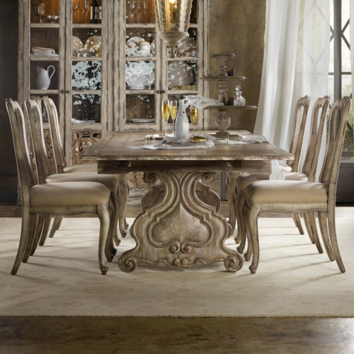 Hooker Furniture Chatelet 7 Piece Dining Set with Refectory Trestle