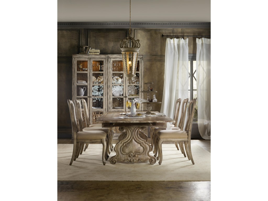 Hooker Furniture ChateletRefectory Rectangle Trestle Dining Table