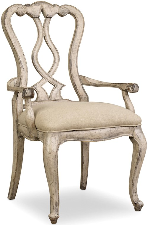 Hooker Furniture Chatelet Splatback Arm Chair with Upholstered Seat