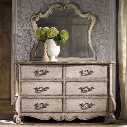 Hamilton Home Chatelet 6 Drawer Dresser with Scroll Motif Mirror