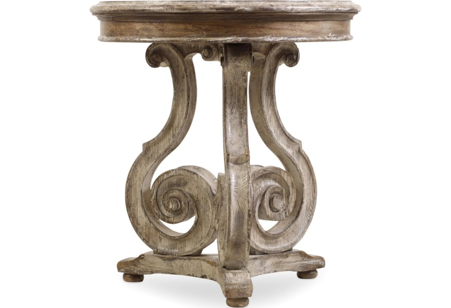 Hooker Furniture Chatelet Scroll Pedestal Accent Table Zak S Home End Tables
