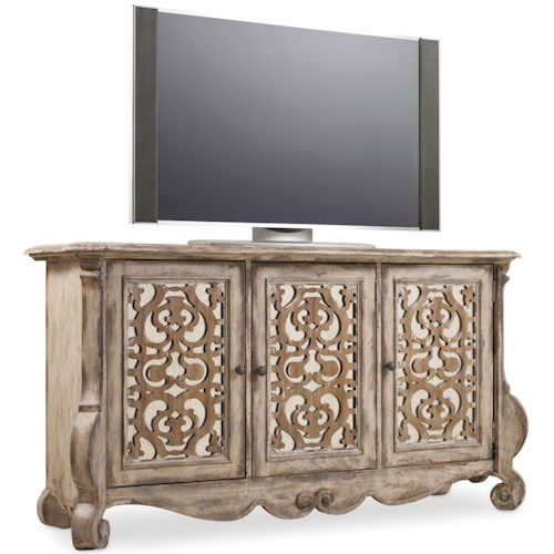 Hamilton Home Chatelet Entertainment Cosole with Mirrored Fretwork Doors