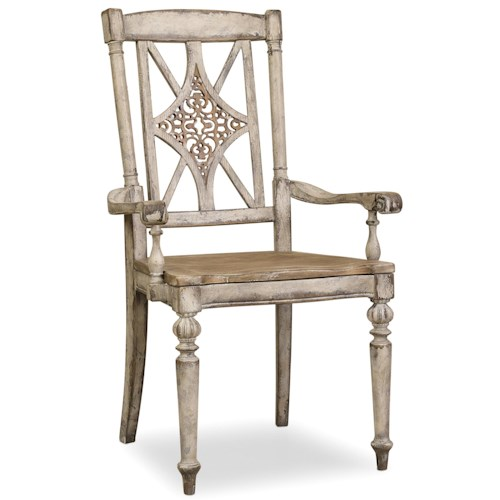 Hamilton Home Chatelet Fretback Arm Chair with Tapered Legs