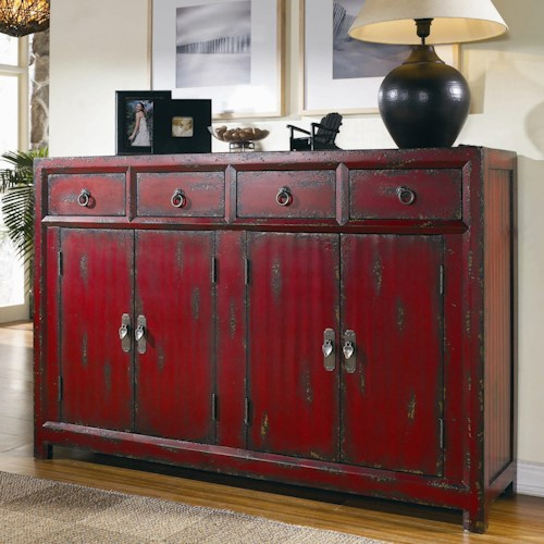 Hamilton Home Chests and Consoles Red Asian Cabinet